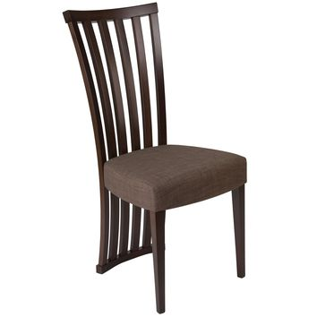 Medford Wood Dining Chair with Dramatic Rail Back and Ultra-Padded Fabric Seat