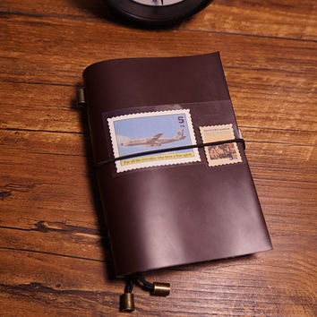 Travel journal handmade notebook genuine leather cover bound journal books 3 type inside paper vintage dairy notebook journal