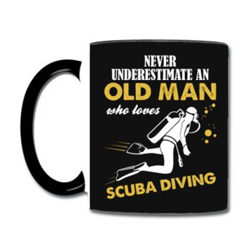 Never Underestimate An Old Man Who Loves Scuba Diving Coffee & Tea Mug