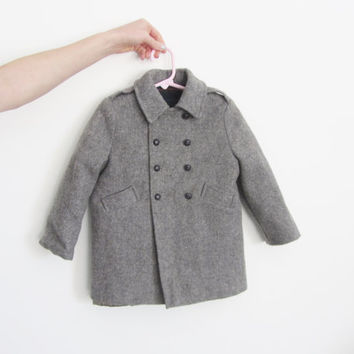 baby boy gray wool peacoat . dapper little man wear . matching hat .disaster relief