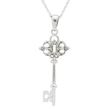 Platinum Plated Sterling Silver Victorian Key