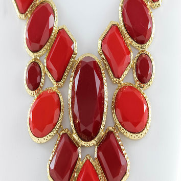 Red Bib Cabochons Statement Necklace & Earrings Set