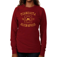 Minnesota Golden Gophers Ladies University Lockup Long Sleeve Slim Fit T-Shirt - Garnet
