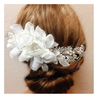One Of A Kind Bridal hair flower, Bridal headpiece, Pearl Rhinestone hair pin, Bridal Hair comb, Wedding accessory