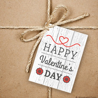9 Happy Valentine's Day Gift Tags, Valentine's Heart 2.5 x 3.5 Hang Tag, Product Tag With Jute Twine, Love Greeting