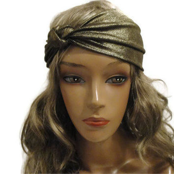Free Shipping: Gold Knotted Headband/  Knotted Turban/ Turban Headband/ Yoga Headband/ Workout Headband/ Headband Turban/ Turband