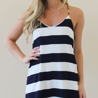 Navy Striped Racer Back Dress - Will be back online on Friday!