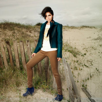 Emerald Cropped jacket Pirate Green felted jacket by texturable