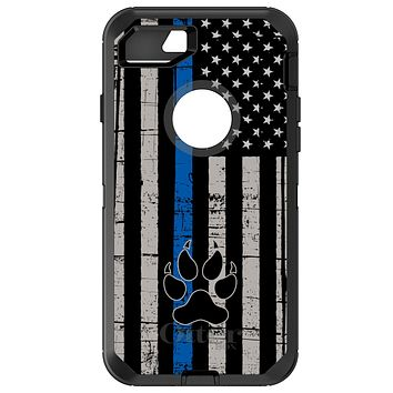 DistinctInk™ OtterBox Defender Series Case for Apple iPhone / Samsung Galaxy / Google Pixel - Thin Blue Line US Flag K9 Dog Paw