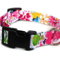Floral Adjustable Girl Dog Collar (White, Pink, & Yellow)