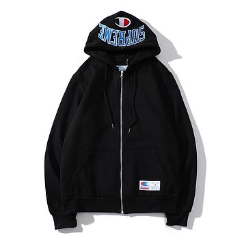 Champion x Supreme co-branded letter embroidery zip and velvet hoodie Black