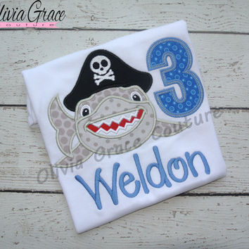 Pirate Birthday Shirt, Pirate shirt, Shark Shirt, Shark Birthday Shirt, Embroidered Shirt, 1st birthday, 2nd birthday, 3rd birthday