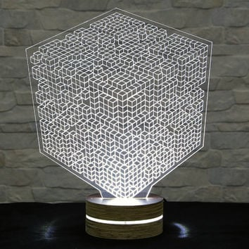 Cubic, 3D LED Lamp, Art Lamp, Acrylic Lamp, Art of Light, Home Decor, Artistic Lamp, Night Light, Table Light, Office Decor, Nursery Light