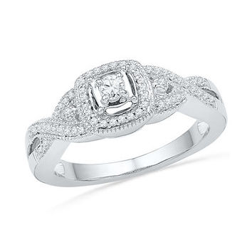 1/4 CT. T.W. Diamond Frame Twist Shank Promise Ring in Sterling Silver - Save on Select Styles - Zales