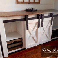 Beautiful Handmade Farmhouse Style Sliding Barn Door Sideboard Media Cabinet