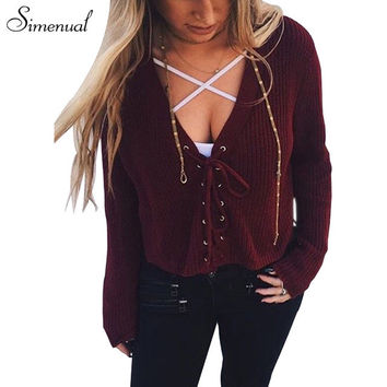 Lace up 2016 short sweater women knitted jumper tops autumn winter crop women's sweaters and pullover sexy slim strappy pullover