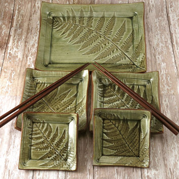 Sushi Set for Two - Organic Pottery Green Sushi Set - Handmade Stoneware Pottery Plate Set - Ferns - Wrapped Up in Bow - Ready to Ship - 253