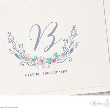 premade logo design flower wreath logo watercolor flower logo monogram logo design website logo blog logo photography logo business logo