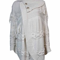 INC International Concepts Women's Mixed Knit Wrap Sweater