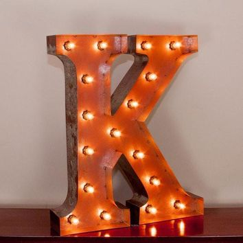 "24"" Letter K Lighted Vintage Marquee Letters with Screw-on Sockets"