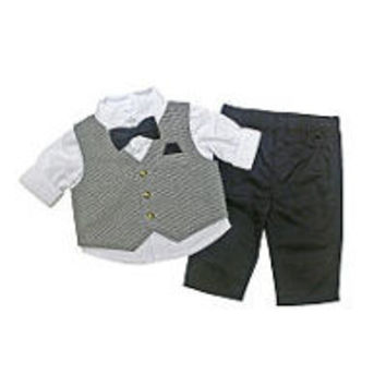 Koala Baby Boutique Boys 3 Piece White Button Down Shirt, Navy Gingham Print Vest, Bow Tie and Blue Pant Set