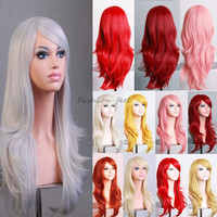 Full Long Layer Curly Wavy Synthetic Hair Wig Women's Stylish Cosplay Party Costume Anime Dress Hot Baby Pink Orange Wigs