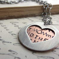 Mothers Day Heart Necklace Shape Mom Metal Stamped Customized Personalized Mixed Metal Layered Silver Copper
