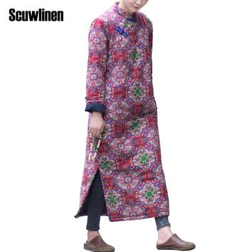 SCUWLINEN 2017 Women Autumn Winter Dress Women Vintage Print Plate Buttons Loose Quilted Robe Stand Collar Long Cotton Robe S283