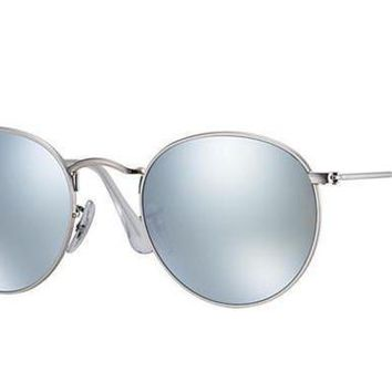 UCANUJ3V Ray Ban Round Metal Sunglass Matte Silver Mirrored RB3447 019/30