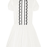 REDValentino - Embroidered cotton-poplin mini dress