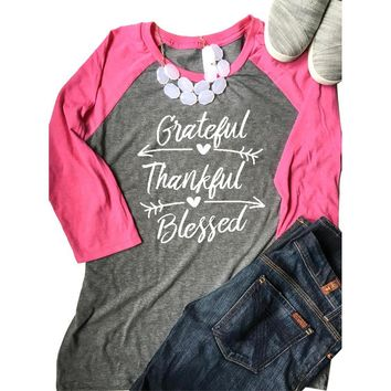 2017 Autumn Fashion Women T-shirt Grateful Thankful Blessed Baseball Tees O-Neck Three Quarter Sleeve  Female Gray Splicing Tops