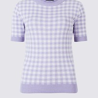 Checked Round Neck Half Sleeve Jumper | Limited Edition | M&S
