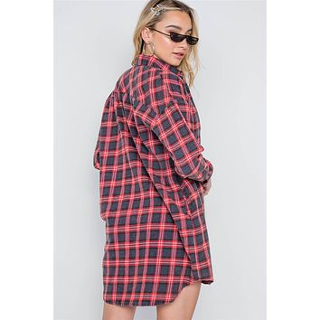 Red Plaid Button Down Long Sleeve Shirt Dress