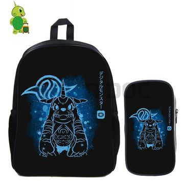 Anime Backpack School kawaii cute Digimon Adventure Gabumon Fluorescence Backpack 2 Pcs/set School Bag for Teenagers Students Book Bag Daily Laptop Backpack AT_60_4
