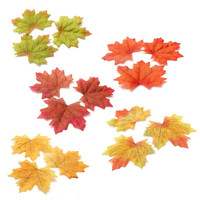 100Pcs Maple Leaves Fall Leaf  Wedding Craft Art Scrapbook Party Decor Ornament = 1933134916