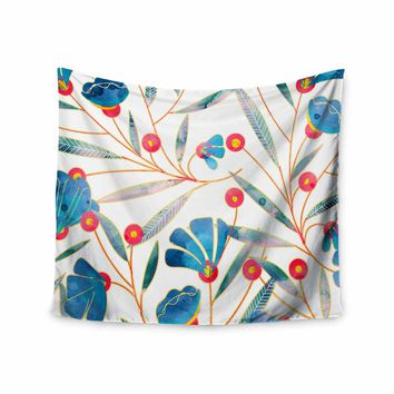 "83 Oranges ""Bluebella"" Blue White Nature Floral Illustration Watercolor Wall Tapestry"