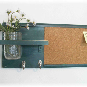 Wood Wall Shelf Cork Bulletin Board Message Center by ACOUNTRYWAY