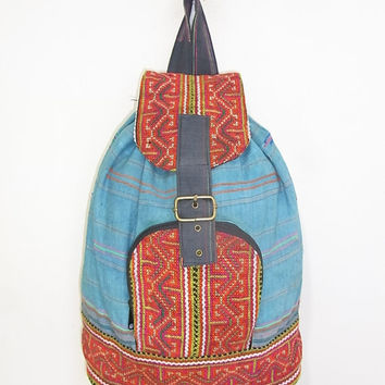 Vintage Backpack Handmade HMONG Village with Flat Strap Fair Trade Thailand (BG048.900)