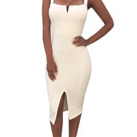 White Bandage Strap Bodycon Dress With Split