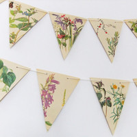 Spring and Summer Paper Bunting - recycled Garland - eco-friendly banner - upcycled bunting - wedding decor - Wedding Pennants