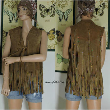 Vintage 70s fringed leather vest / M / L / boho hippie western festival brown suede fringe vest / 1970s beaded fringed leather vest
