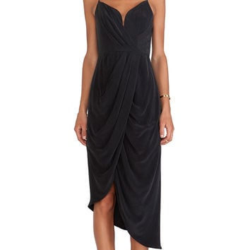 Zimmermann Silk Plunge Drape Dress in Black