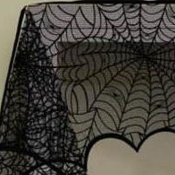 2018 New Black Spider Fireplace Curtain Mantel Scarf Halloween Decorations for Home Horror cobweb Lace Party Supplies 188*90cm