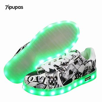 New Kids Boys Girls USB Charger Led Light Shoes poker Graffiti Luminous Sneakers casual Shoes Unisex Sports for children