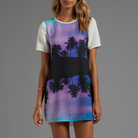 Finders Keepers You Sent Me T-Shirt Dress in Paradise Beach Blue/Ivory from REVOLVEclothing.com