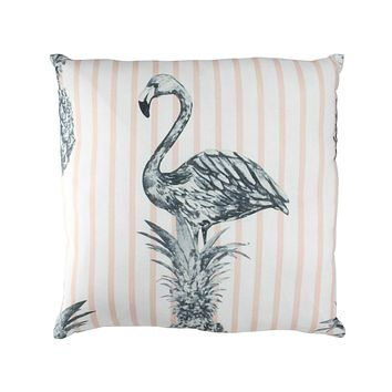 "17"" Peach Stripe Tropical Flamingo Pineapple Cotton Throw Pillow"
