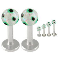 Handpainted Glitter Ball Labret [Gauge: 16G - 1.2mmBall Size: 3mm] 316L Surgical Steel (Green) & Acrylic (Various Lengths) // Set of 2 (LHPG08)