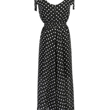 Black Polka Dot Print Bowknot Shoulder Chiffon Maxi Dress