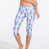 Full Tilt Sport Snake Print Womens Capri Leggings Pink/Blue  In Sizes