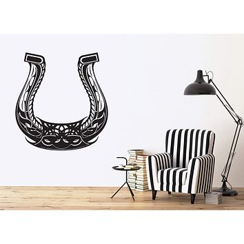 Vinyl Decal Animal Decor Wall Sticker Beautiful Symbol Good Luck Horseshoe Pattern Unique Gift (n432)